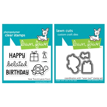 Lawn Fawn SET LF215YTW BELATED BIRTHDAY Clear Stamps And Dies