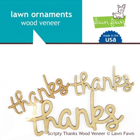 Lawn Fawn SCRIPTY THANKS Wood Veener Lawn Ornaments LF871 Preview Image