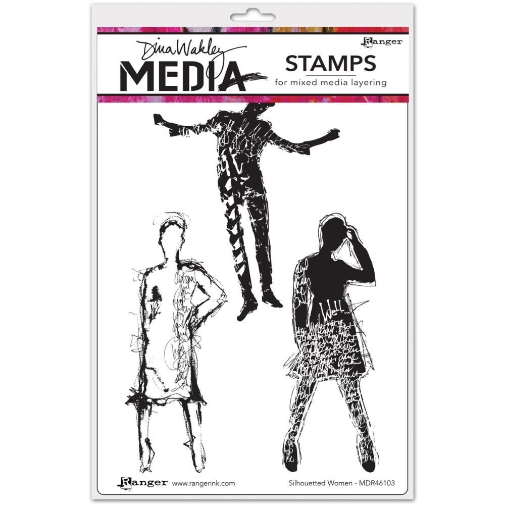 Dina Wakley SILHOUETTED WOMEN Media Cling Rubber Stamp MDR46103 zoom image