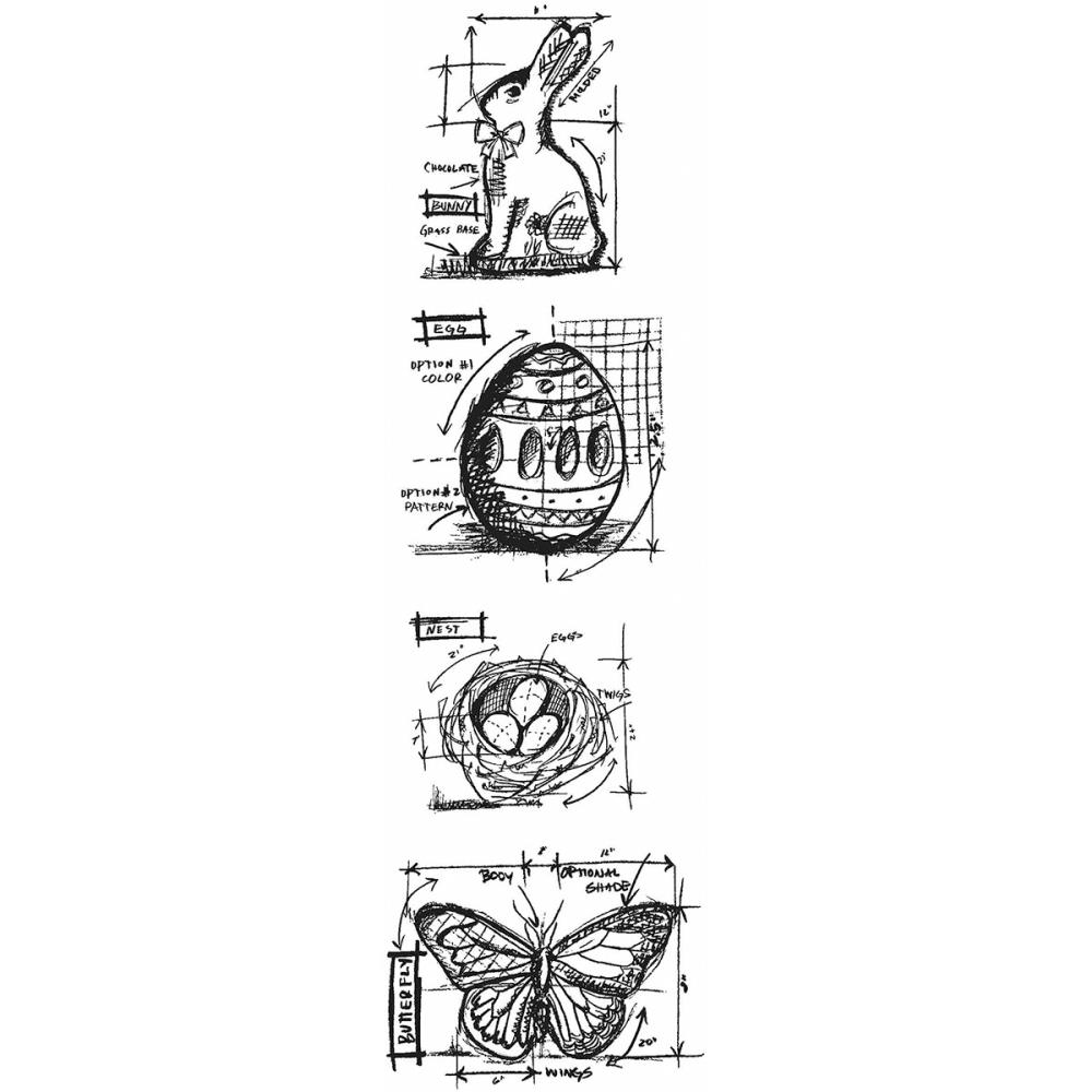 Tim Holtz Mini Blueprints Strip EASTER Cling Rubber Stamps THMB005 zoom image