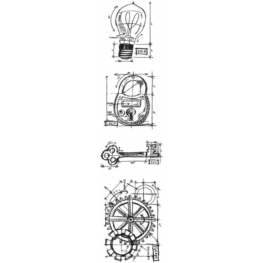 Tim Holtz Mini Blueprints Strip INDUSTRIAL Cling Rubber Stamps THMB009 zoom image
