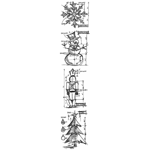 Tim Holtz Mini Blueprints Strip CHRISTMAS Cling Rubber Stamps THMB003 Preview Image
