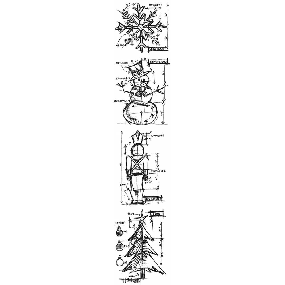 Tim Holtz Mini Blueprints Strip CHRISTMAS Cling Rubber Stamps THMB003 zoom image