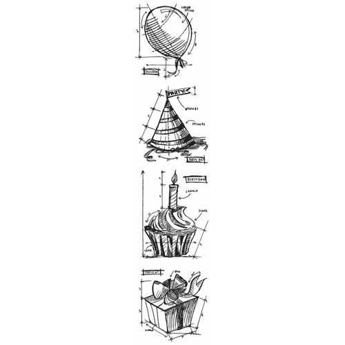 Tim Holtz Mini Blueprints Strip BIRTHDAY Cling Rubber Stamps THMB012  Preview Image