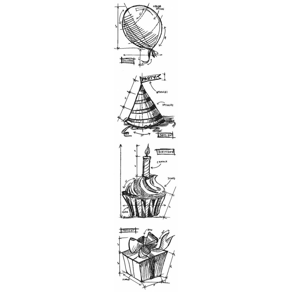 Tim Holtz Mini Blueprints Strip BIRTHDAY Cling Rubber Stamps THMB012  zoom image