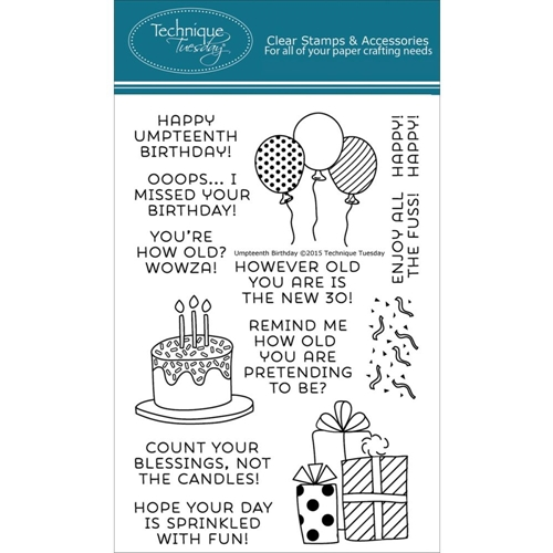 Technique Tuesday UMPTEENTH BIRTHDAY Clear Stamps 02179 Preview Image