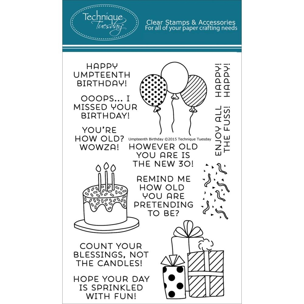 Technique Tuesday UMPTEENTH BIRTHDAY Clear Stamps 02179 zoom image