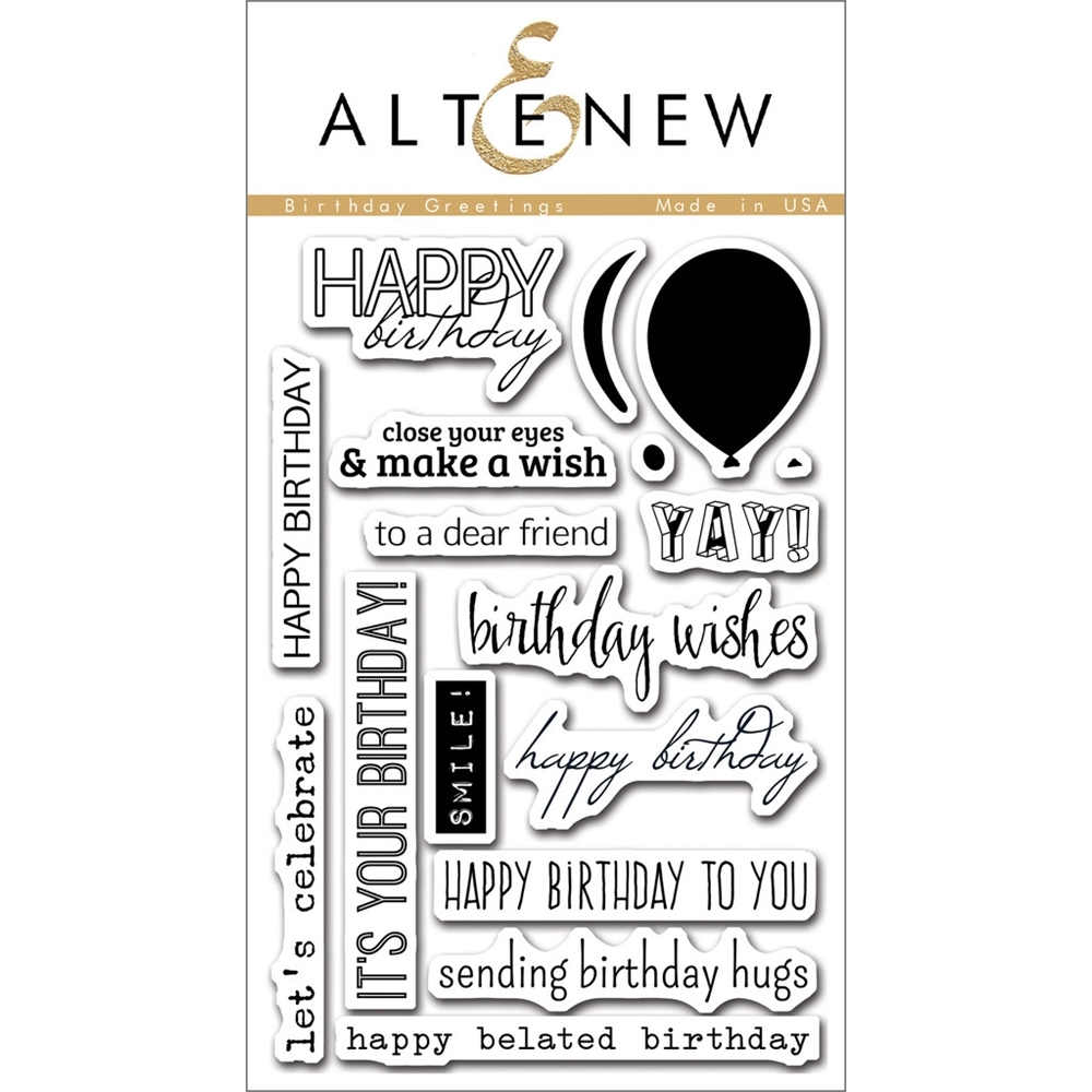 Altenew BIRTHDAY GREETINGS Clear Stamp Set ALT1063 zoom image