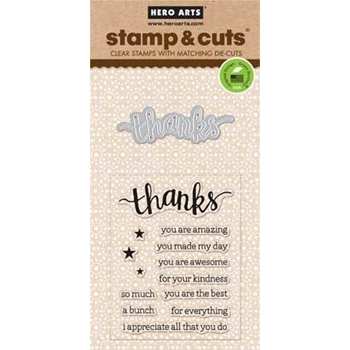 Hero Arts Stamp And Cuts THANKS Coordinating Set DC152*