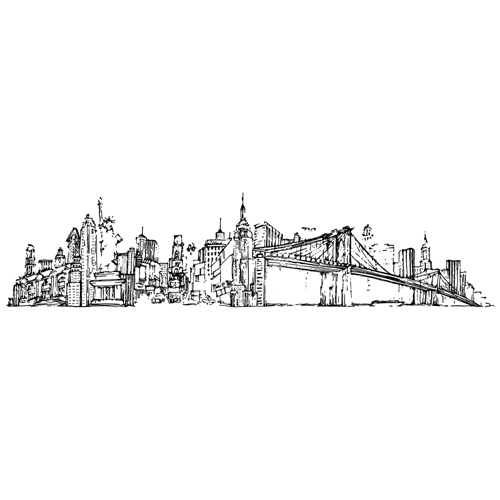 Tim Holtz Rubber Stamp NEW YORK CITYSCAPE Stampers Anonymous U4-2597* Preview Image