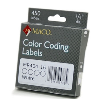 Maco WHITE COLOR CODING LABELS 0.25 inches MR40416