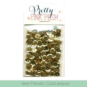 Pretty Pink Posh 6MM METALLIC GOLD CUPPED Sequins PPP027 Preview Image
