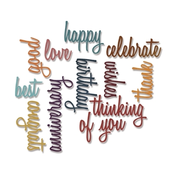 Tim Holtz Sizzix CELEBRATION WORDS SCRIPT Thinlits Die 660223