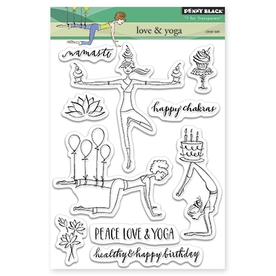Penny BLack Clear Stamps LOVE AND YOGA 30-302 Preview Image