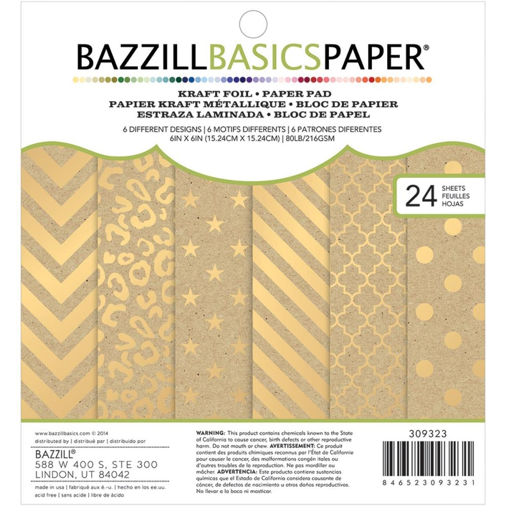 Bazzill KRAFT FOIL Gold Paper Pad 309323 zoom image
