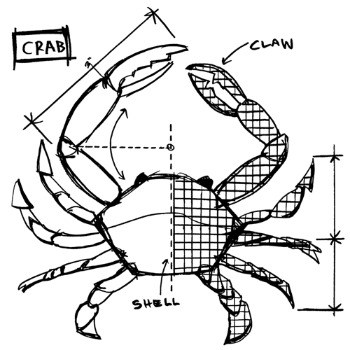 Tim Holtz Rubber Stamp CRAB SKETCH Stampers Anonymous U2-2638* Preview Image