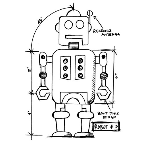 Tim Holtz Rubber Stamp  ROBOT 3 SKETCH Stampers Anonymous P4-2634* Preview Image