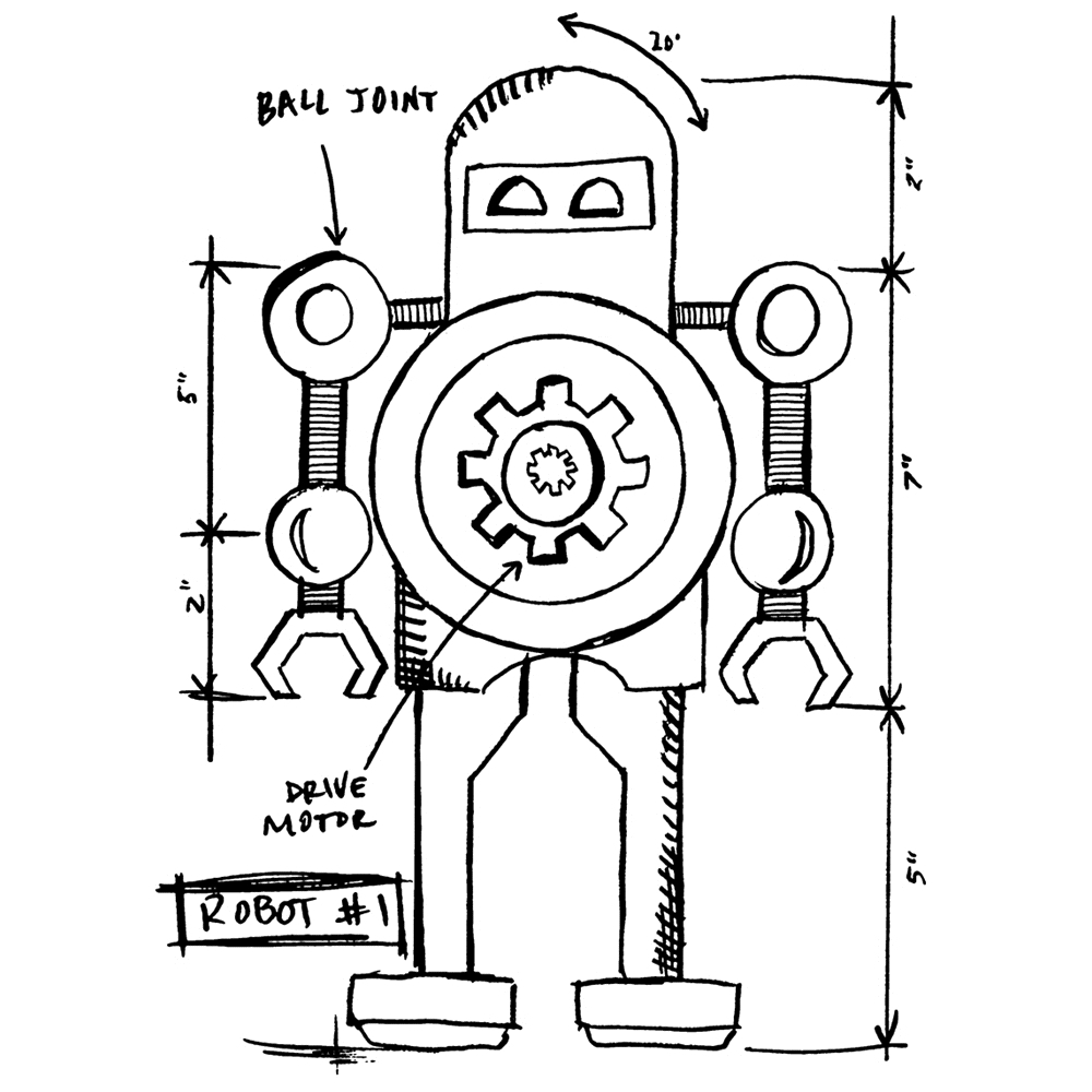 Tim Holtz Rubber Stamp ROBOT 1 SKETCH Stampers Anonymous P4-2632 zoom image