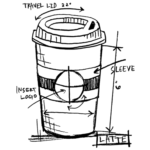 Tim Holtz Rubber Stamp  LATTE SKETCH Stampers Anonymous P1-2629* Preview Image