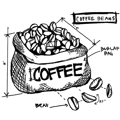 Tim Holtz Rubber Stamp  COFFEE BEANS SKETCH Stampers Anonymous P1-2627 Preview Image