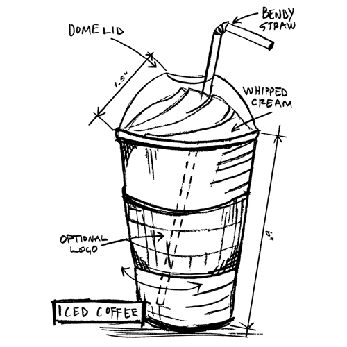 Tim Holtz Rubber Stamp ICED COFFEE SKETCH Stampers Anonymous U1-2630 Preview Image