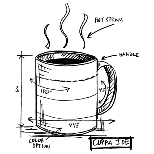Tim Holtz Rubber Stamp CUPPA JOE SKETCH P1-2628* Preview Image