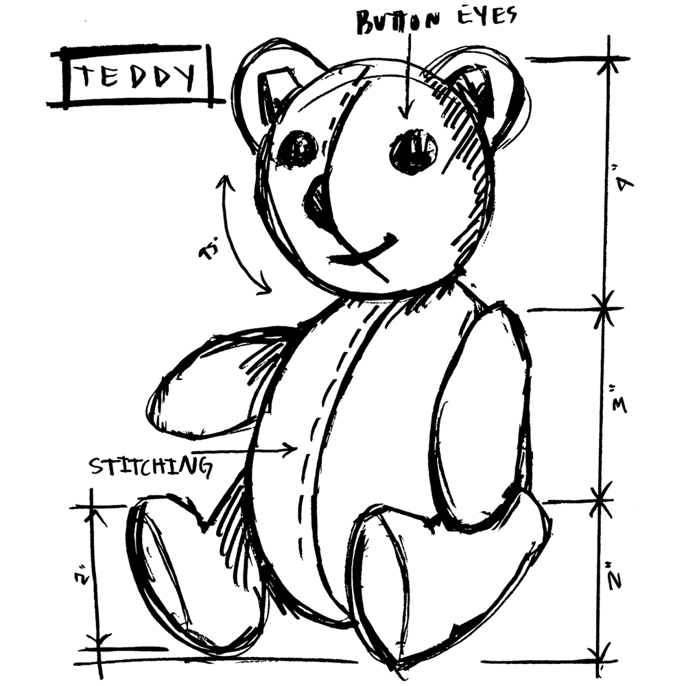 Tim Holtz Rubber Stamp TEDDY SKETCH Stampers Anonymous U2-2622* zoom image