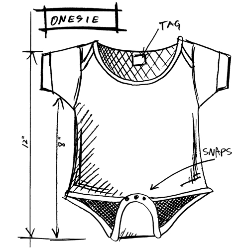 Tim Holtz Rubber Stamp  ONESIE SKETCH Stampers Anonymous P1-2615 Preview Image