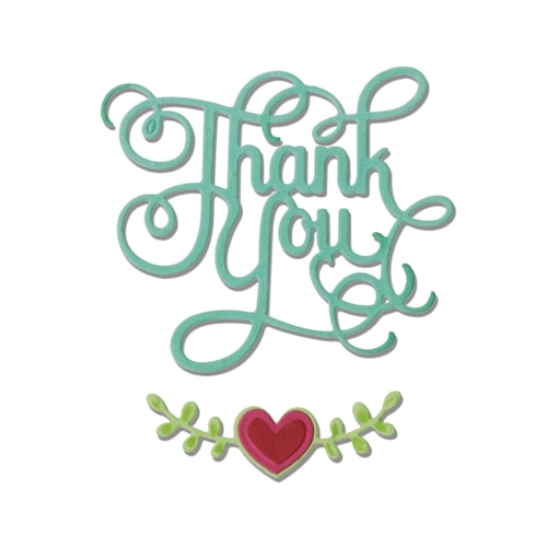 Sizzix THANK YOU PHRASE WITH HEARTS Thinlits Die Set 660370 Preview Image