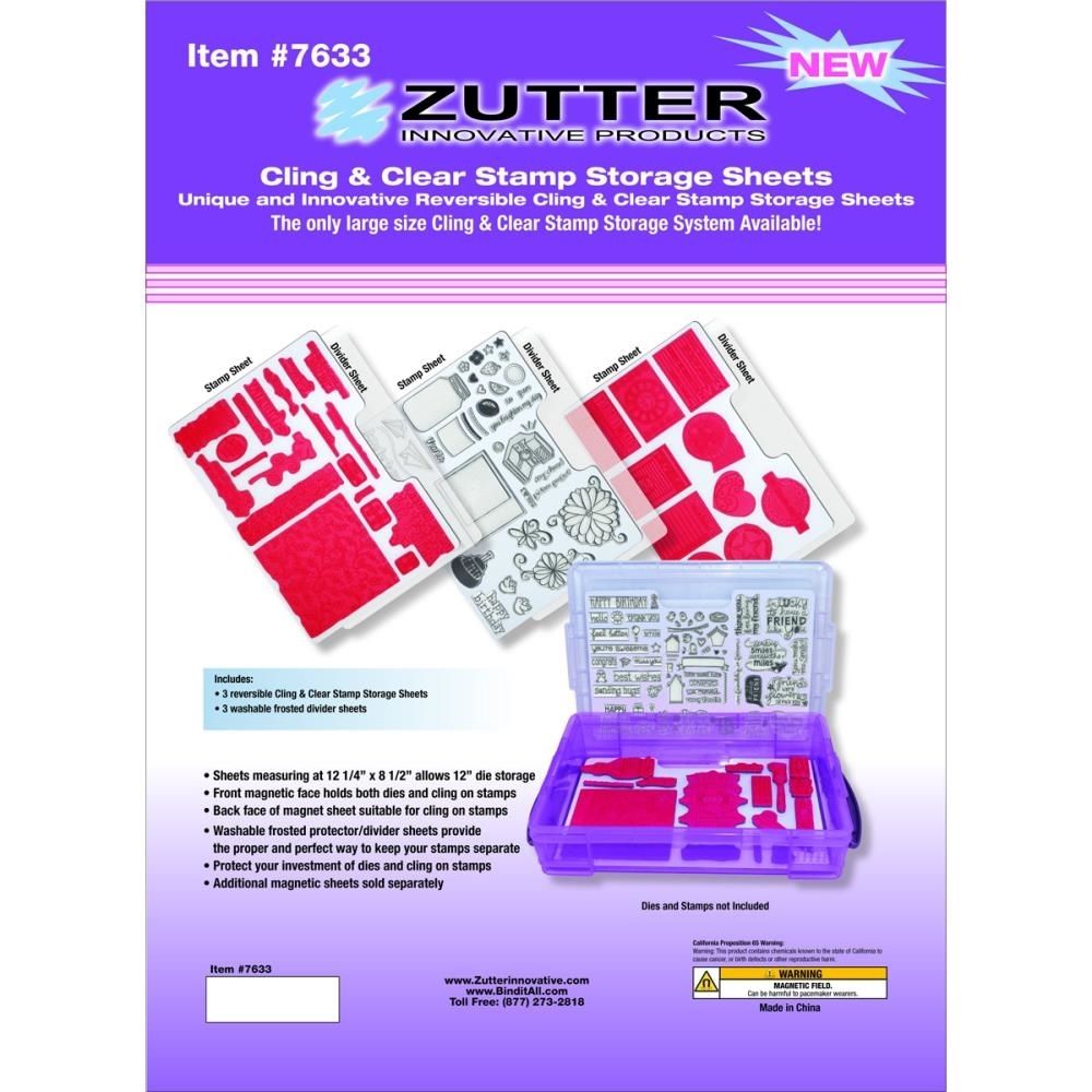 Zutter CLING AND CLEAR STAMP STORAGE SHEETS 7633 zoom image