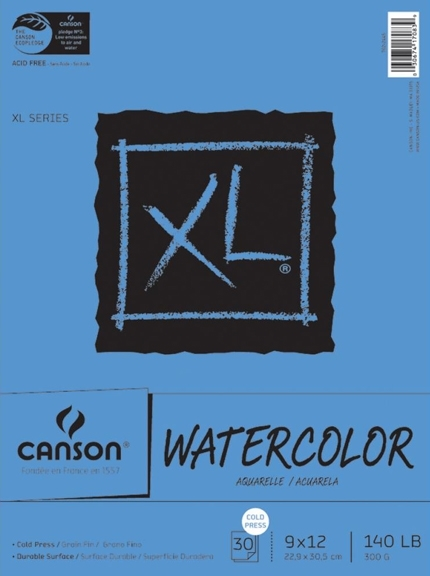 Canson XL WATERCOLOR PAPER 9x12 140lb Pad 726259 zoom image