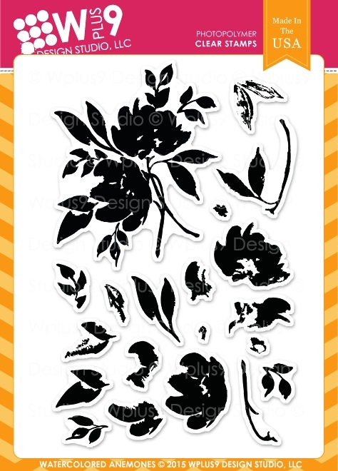 Wplus9 WATERCOLORED ANEMONES Clear Stamps CLWP9WA zoom image