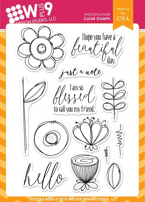 WPlus9 Doodle Buds Clear Stamp Set