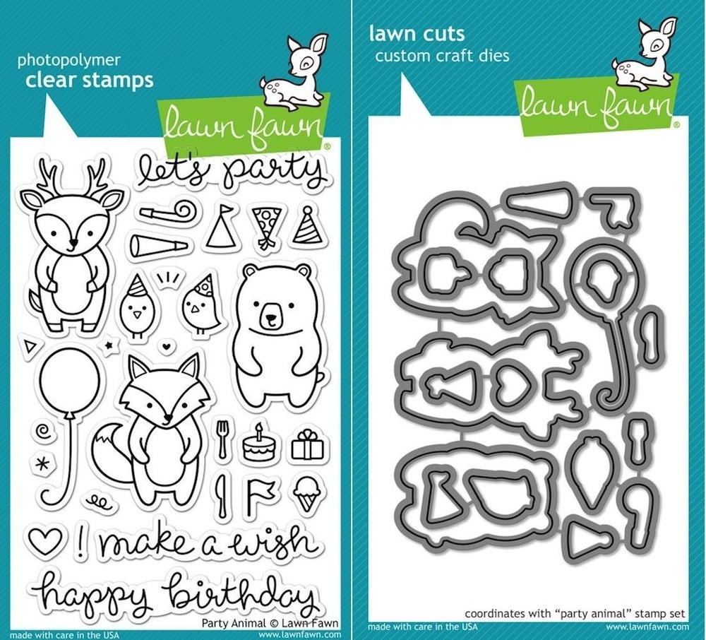 Lawn Fawn Set LF15AP ANIMAL PARTIES Clear Stamps and Dies zoom image