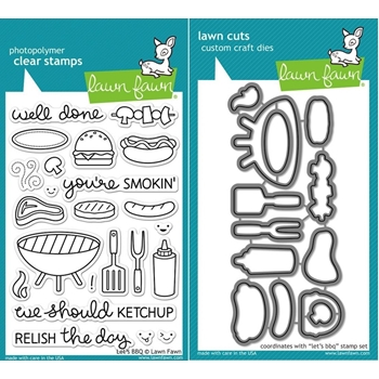 Lawn Fawn Set LF15BBQ RELISH THE DAY Clear Stamps and Dies
