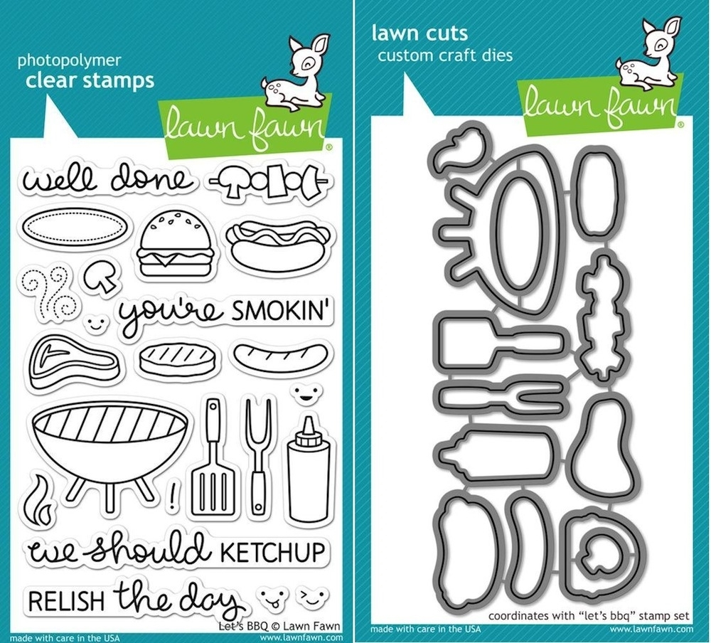 Lawn Fawn Set LF15BBQ RELISH THE DAY Clear Stamps and Dies  zoom image