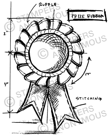 Tim Holtz Rubber Stamp PRIZE RIBBON SKETCH Stampers Anonymous P1-2351 * zoom image