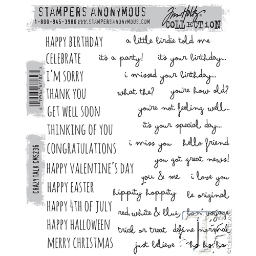 Tim Holtz Cling Rubber Stamps CRAZY TALK CMS236 Preview Image