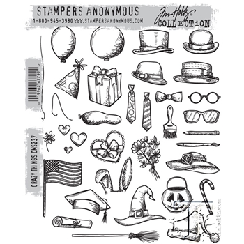 Tim Holtz Cling Rubber Stamps  CRAZY THINGS CMS237