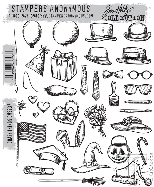 Tim Holtz Cling Rubber Stamps  CRAZY THINGS CMS237 zoom image