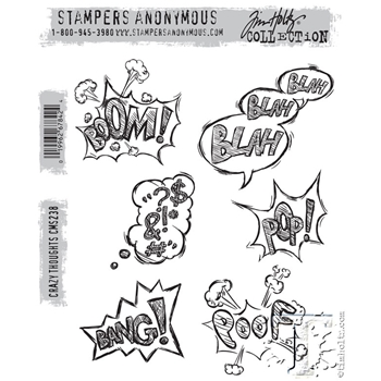 Tim Holtz Cling Rubber Stamps CRAZY THOUGHTS CMS238