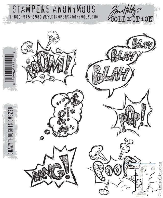Tim Holtz Cling Rubber Stamps CRAZY THOUGHTS CMS238 zoom image