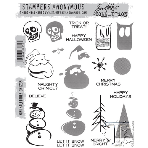 Tim Holtz Cling Rubber Stamps MINI HALFTONES CMS239 Preview Image