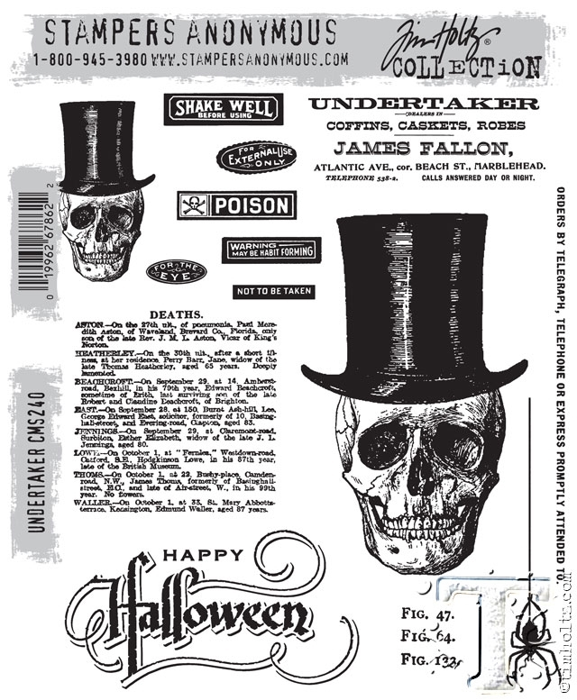 Tim Holtz Cling Rubber Stamps UNDERTAKER CMS240 zoom image
