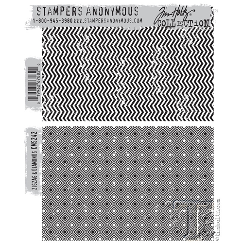 Tim Holtz Cling Rubber Stamps  ZIGZAG and DIAMONDS CMS242 Preview Image