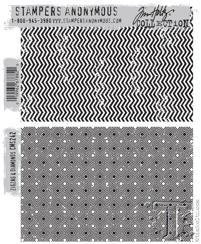 Tim Holtz Cling Rubber Stamps  ZIGZAG and DIAMONDS CMS242 zoom image