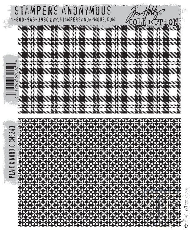 Tim Holtz Cling Rubber Stamp PLAID and NORDIC CMS243 zoom image