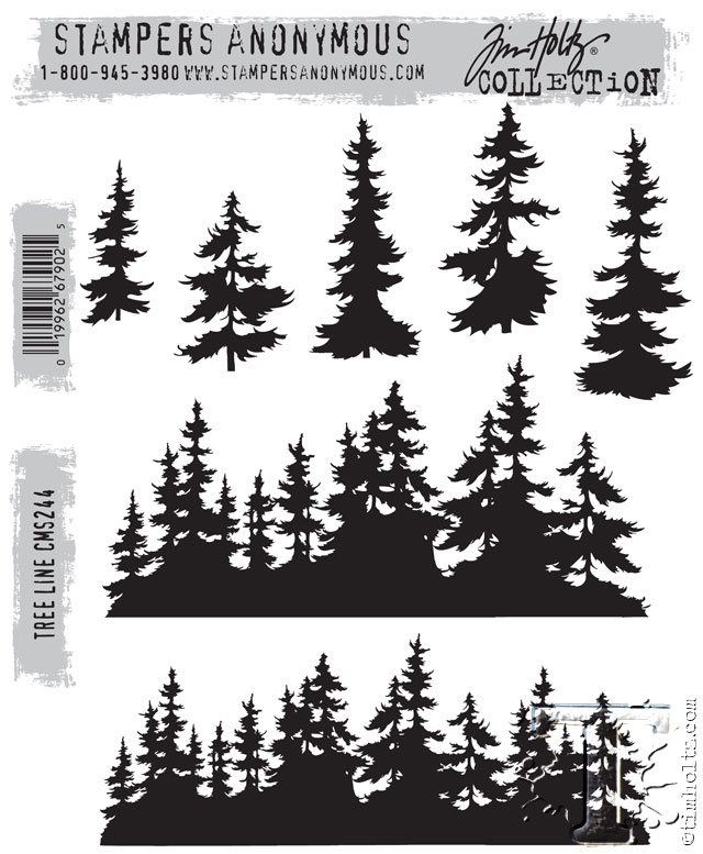 Tim Holtz Cling Rubber Stamps  TREE LINE CMS244 zoom image
