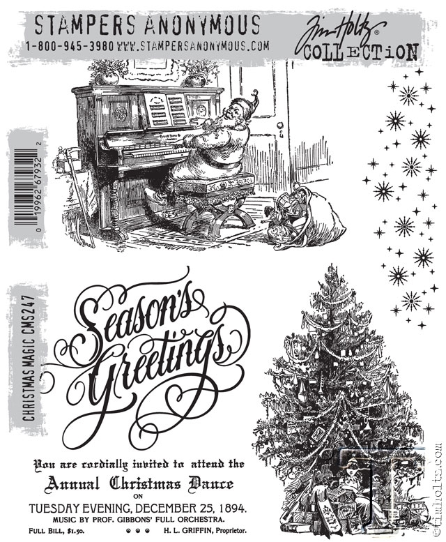 Tim Holtz Cling Rubber Stamps CHRISTMAS MAGIC CMS247 zoom image