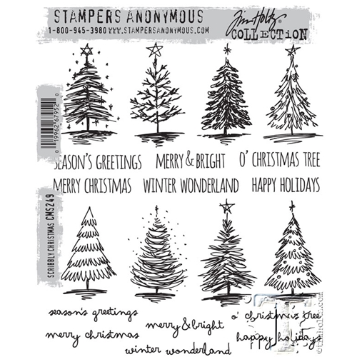 Tim Holtz Cling Rubber Stamps  SCRIBBLY CHRISTMAS CMS249 Preview Image